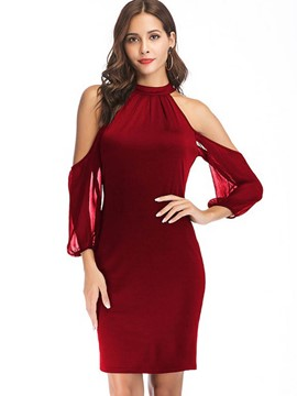 Ericdress Off-The-Shoulder Patchwork Above Knee Sexy Bodycon Dress