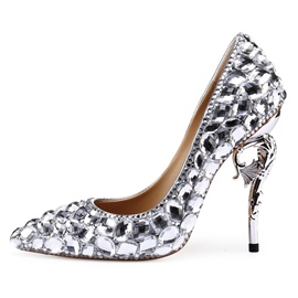 Ericdress Diamond Slip-On Stiletto Heel Pointed Toe Proms Shoes