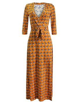 Ericdress Orange V-Neck Lace-Up Print Maxi Dress