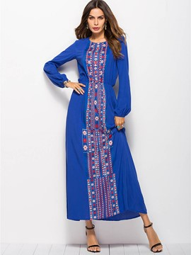Ericdress African Fashion Scoop Blue Maxi Dress