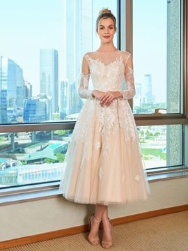 Ericdress Tulle Tea Length Wedding Dress