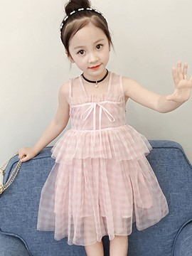 Ericdress Plaid A-Line Bowknot Sleeveless Girl's Princess Dress