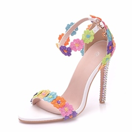 Ericdress Floral Line-Style Buckle Stiletto Heel Wedding Shoes