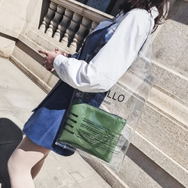 Ericdress PVC Letter Transparent Tote Bag