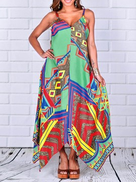Ericdress V-Neck Geometric Ethnic Maxi Dress