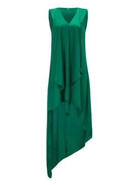 Ericdress Green V-Neck Woven Fabric Asymmetric Casual Dress