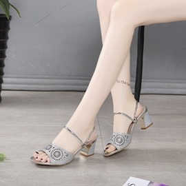 Ericdress Rhinestone Hollow Chunky Heel Mules Shoes