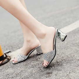 Ericdress Sequin Flip Flop Chunky Heel Mules Shoes