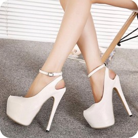 Ericdress Plain Closed Toe Line-Style Buckle Heel Sandals