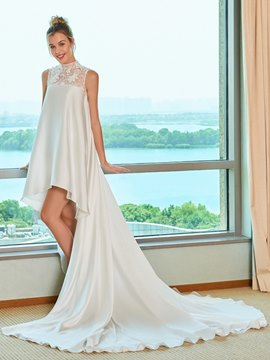 Ericdress High Low High Neckline Beach Wedding Dress