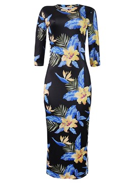 Ericdress Floral 3/4 Length Sleeves Pullover Bodycon Dress