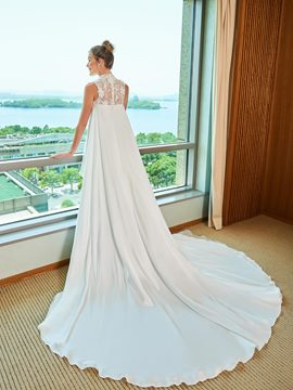 Ericdress High Low High Neckline Wedding Dress