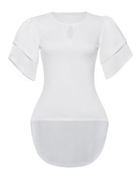 Ericdress Plain Scoop Short Sleeve Womens T Shirt
