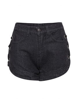 Lace Up Side Raw Hem Denim Women's Shorts