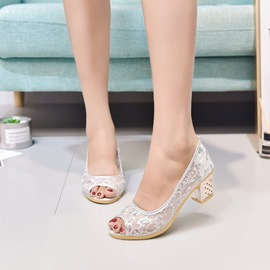 Ericdress Mesh Sequin Slip-On Peep Toe Chunky Sandals