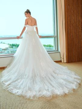Ericdress Off the Shoulder Appliques Wedding Dress