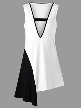 Ericdress Color Block Asymmetric Womens Tank Top