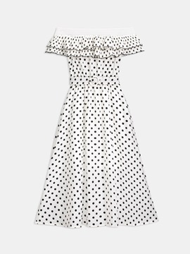 Polka Dots Slash Neck Women's Day Dress