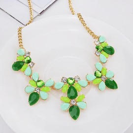 Ericdress Candy Colour Flower Charm Necklace