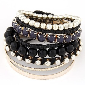 Ericdress Boho Colorful Multilayer Beads Bracelet