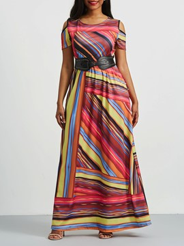 Ericdress Hollow Print Stripe Color Block Maxi Dress