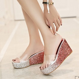 Ericdress Sequin Flip Flop Platform Wedge Heel PVC Sandals