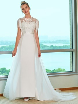 Ericdress Tassel Sleeves Beading Lace Wedding Dress