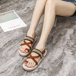 Ericdress Sewing Embroidery Platform Strappy Flat Sandals