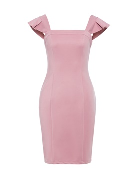 Ericdress Pink Slash Neck Ruffles Pullover Bodycon Dress