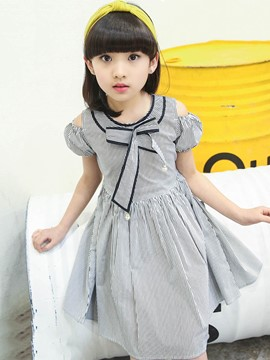 Ericdress Suspenders Stripe Lace Up Bow Girl's Casual Dress