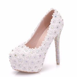 Ericdress Appliques Diamond Platform Stiletto Heel Wedding Shoes