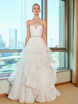 Ericdress Beading Halter Tiered Ball Gown Wedding Dress