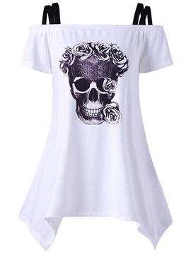Ericdress Loose Skull Print Womens T Shirt