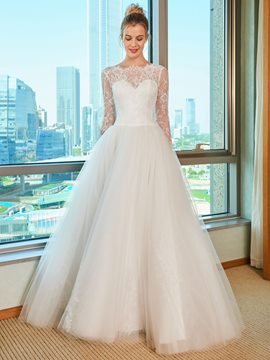 Ericdress Backless Long Sleeves Wedding Dress