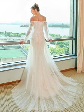 Ericdress Off the Shoulder Long Sleeves Sheath Wedding Dress