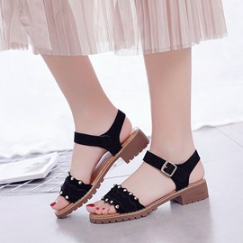 Ericdress Sewing Rivet Buckle Open Toe Chunky Sandals