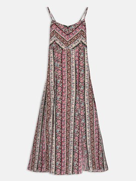 Strappy Ethnic Pattern Women's Day Dress