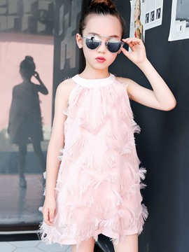 Ericdress Tassel A-Line Pink Girl's Party Ball Casual Dress