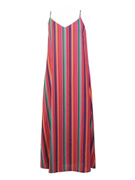Ericdress Red V-Neck Stripe Spaghetti Strap A-Line Dress