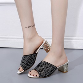 Ericdress Rhinestone Hollow Slip-On Chunky Sandals