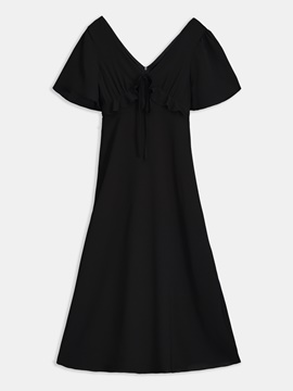 Black Half Sleeve Women's Day Dress