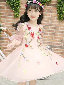 Ericdress Floral Mesh 3/4 Sleeve Girl's Princess Dress