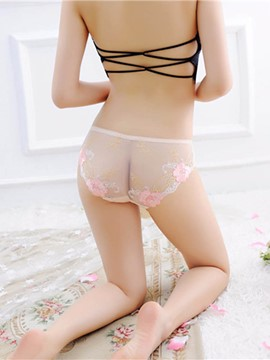 Eridress Embroidery Floral Mesh Sexy Panty
