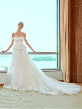 Ericdress Off the Shoulder Tulle Wedding Dress