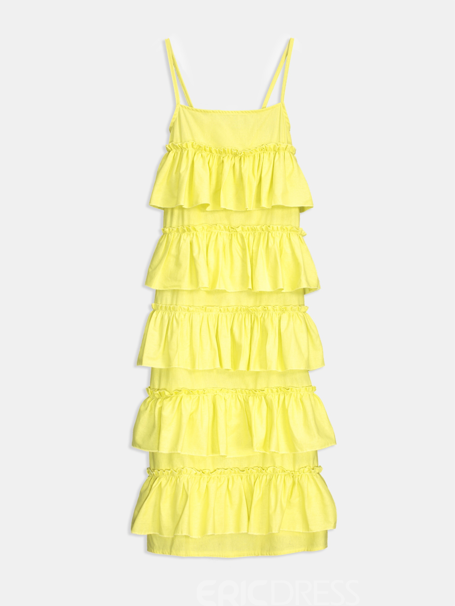 Ericdress Yellow Ruffles Pleated Wave Cut Layered Casual Dress 13297596