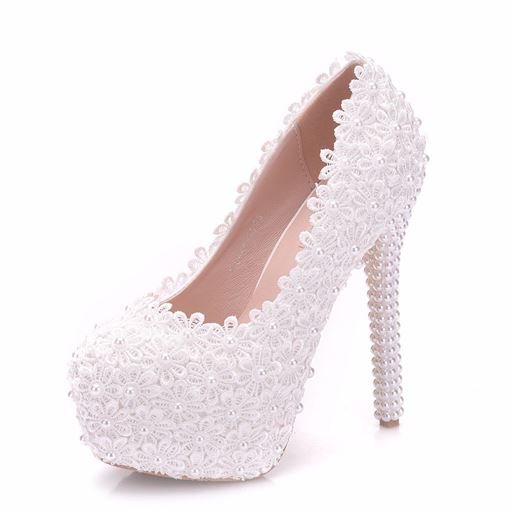 Ericdress Appliques Beads Platform Stiletto Heel Wedding Shoes