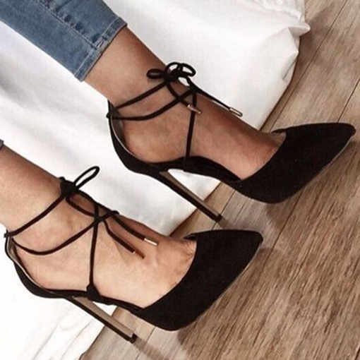 Ericdress Pointed Toe Stiletto Heel Lace-Up Pumps