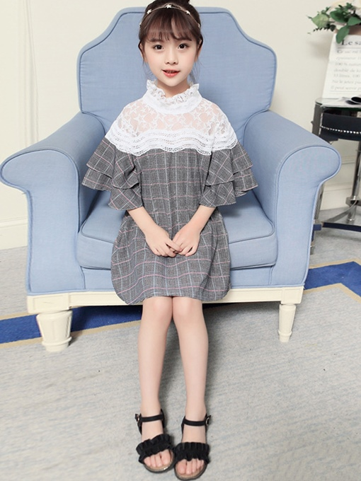 Ericdress Lace Ruffle Sleeve Patchwork Plaid Girl's Dress