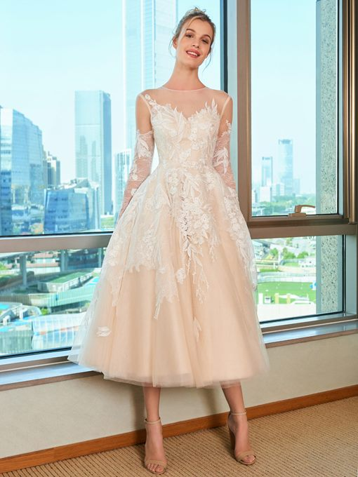 Ericdress Long Sleeve Appliques Tea Length Wedding Dress