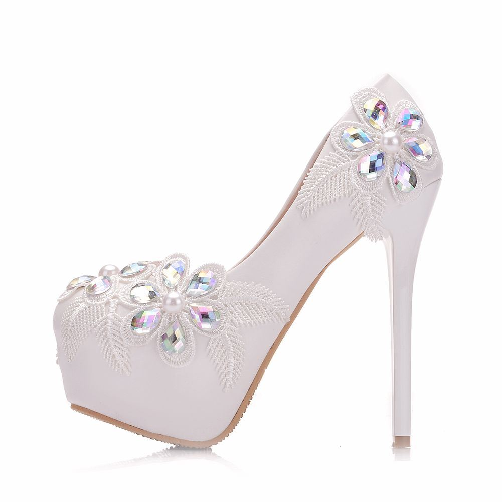 Ericdress Diamond Beads Appliques Stiletto Heel Wedding Shoes